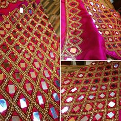 Shop for a variety of blouses in high neck, sleeveless, boat neck, sleeveless, embroidered & more online. Simple Blouse Designs, Silk Saree Blouse Designs, Blouse Neck Designs, Sari Blouse, Mirror Work Saree Blouse, Mirror Work Blouse Design, Hand Work Embroidery, Hand Embroidery Designs, Aari Embroidery