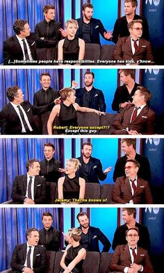 [gifset] Avengers cast - Jimmy Kimmel Live - Visit to grab an amazing super hero shirt now on sale! Avengers Humor, Marvel Avengers, Funny Marvel Memes, Avengers Cast, Marvel Jokes, Dc Memes, Marvel Actors, Marvel Dc Comics, Capitan America Chris Evans