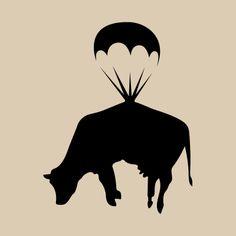 Banksy Parachute Cow Wall Sticker