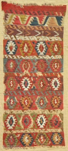 Anatolian kilim fragment, 180 x 75 cms, professionally mounted on linen.