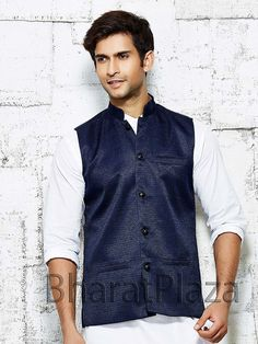 Fabulous navy blue color nehru jacket. Item Code: NJI5001NB