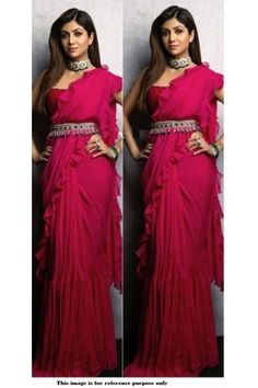 Buy Bollywood Shilpa Shetty Pink Georgette Ruffle sareein UK, USA and Canada WhatsApp us for Purchase & Inquiry : Buy Best Designer Collection from padukon Trendy Sarees, Stylish Sarees, Stylish Dresses, Saree With Belt, Look Fashion, Parisian Fashion, Bohemian Fashion, Fashion Spring, Cheap Fashion