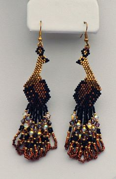 Items similar to Beadwoven Swarovski Peacock Earrings ( some gold plated beads) Beadwork Peacock Crystal Dangle earrings on gold filled ear wires on Etsy Peacock Earrings, Bird Earrings, Tiny Stud Earrings, Seed Bead Earrings, Fringe Earrings, Beaded Earrings, Crochet Earrings, Beaded Flowers Patterns, Bead Embroidery Patterns