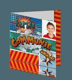 Stoer communiekaartje jongen stripboek en vrolijke kleuren. #communie #communiekaartje http://mycards.nl/uitnodigingen/communie/