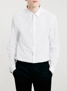 WHITE DOUBLE CUFF LONG SLEEVE SMART SHIRT