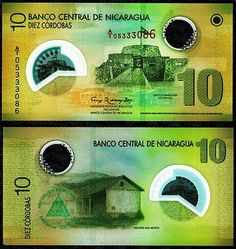NICARAGUA 10 CORDOBAS POLYMER FOREIGN PAPER MONEY WORLD BANKNOTE CURRENCY