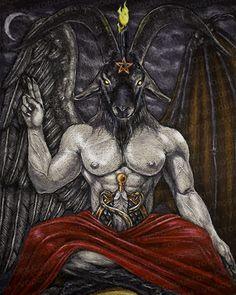 Baphomet Print : The Vodou Store Baphomet, Arte Horror, Horror Art, Dark Fantasy Art, Dark Art, Traditional Witchcraft, Satanic Art, Evil Art, Occult Art