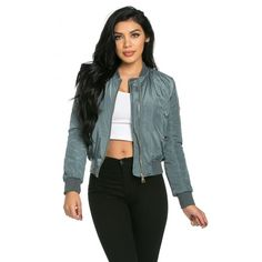 Classic Flight Bomber Jacket in Sage ($45) ❤ liked on Polyvore featuring outerwear, jackets, camoflauge jacket, black zipper jacket, pocket jacket, black flight jacket and camo print jacket
