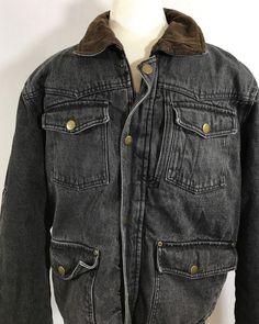Denim Trucker Wrangler Fleece Sherpa  Lined Barn Jacket Black Pockets #Wrangler #JeanJacket