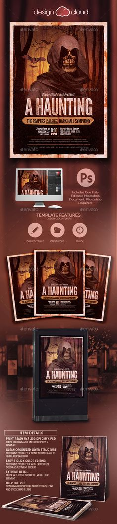 A Haunting Halloween Party Flyer Template by Design-Cloud This Flyer Template is perfect for any Horror, Haunted, Haunting, Halloween, Costume or Scary related club, pub or personal party