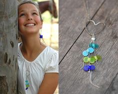 Blue Turquoise and green Girls Necklace by StudioMandarina on Etsy