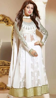 Purchase the Latest Bollywood Fashionable  White Viscose #AnarkaliDresses Online.  #Price INR- 4300 Link- http://alturl.com/ufded