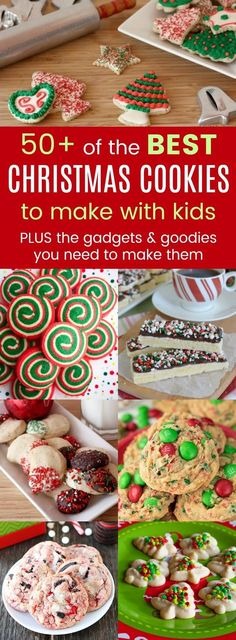 The Best Christmas Cookies for Kids - over 50 easy cookie recipes to bake with kids for the holidays, plus my favorite kitchen gadgets and goodies to make them. Santa approved! #cookies #christmas #christmascookies #bakingwithkids #cookiesforsanta via @cupcakekalechip