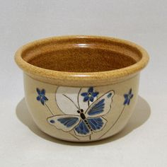 Blue Butterfly and Flower Bowl 1 qt Limited Series by JimAndGina, $35.00 https://www.etsy.com/treasury/MTI1NjE2MDN8MjcyNTg1NDg2Mg/warm-brown