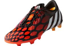 adidas Predator Instinct FG Soccer Cleats - Black and Solar Red Adidas Soccer Boots, Adidas Football, Football Shoes, Nike Soccer, Football Cleats, Soccer Shoes, Adidas Men, Best Soccer Cleats, Soccer Gear