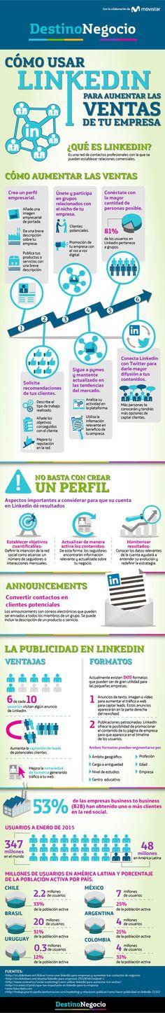 Cómo usar Linkedin para aumentar las ventas de tu empresa #infografia #marketing #socialmedia