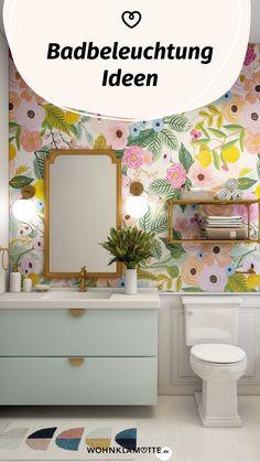 Mit den richtigen Badbeleuchtungs-Ideen lässt sich der Wohlfühlfaktor gleich verdoppeln. Dabei ist es wichtig, dass Du die perfekte Kombi aus praktischen Badleuchten für die alltäglichen Schönheitsprozeduren und stimmungsvollen Lichtquellen zum Entspannen findest. Wir zeigen Dir, was zu beachten ist. Mini Bad, Mirror, Furniture, Home Decor, Mirror With Lights, Shower Cabin, Decoration Home, Room Decor, Mirrors