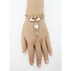 Ola Hand Bracelet Rhinestone Hand Jewelry Boho Ring Bracelet Beach... ($44) ❤ liked on Polyvore featuring jewelry, bracelets, bridal bangles, yellow gold bangle, gold chain jewelry, gold jewelry and rhinestone bridal jewelry