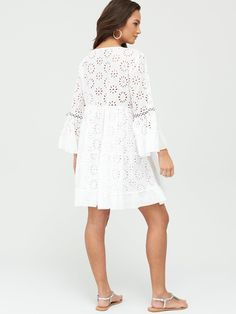 South Beach Broderie Anglais Kaftan - White , White, Size M, Women - White - M