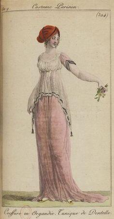 1800s Fashion, 19th Century Fashion, Vintage Fashion, Medieval Fashion, French Fashion, Regency Dress, Regency Era, Historical Costume, Historical Clothing