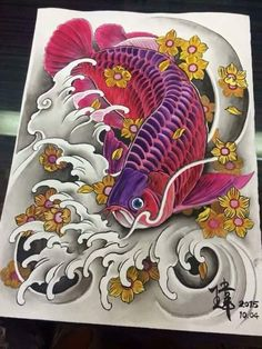 Koi Tattoo Design, Japan Tattoo Design, Koi Art, Fish Art, Koi Fish Tattoo, Fish Tattoos, Dragon Koi Fish, Japanese Flower Tattoo, Asian Tattoos