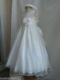 KC1 NEW IVORY / IVORY WEDDING BRIDAL ORGANZA CRYSTAL KIDS FLOWER GIRL DRESS