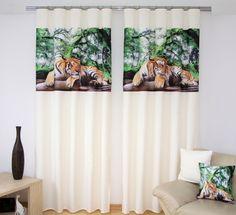 Štýlový krémový záves s potlačou tigra Curtains, Shower, Prints, Home Decor, Rain Shower Heads, Blinds, Decoration Home, Room Decor, Showers
