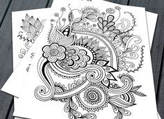 Doodle Adult Colouring Pages Printable от NorthernSunArtPrints