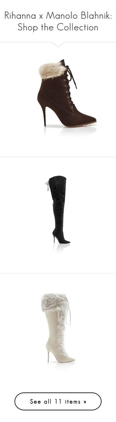 """""""Rihanna x Manolo Blahnik: Shop the Collection"""" by polyvore-editorial ❤ liked on Polyvore featuring manoloblahnik, Rihanna, shoes, boots, ankle booties, short cowgirl boots, short boots, denim boots, western boots and ankle boots"""