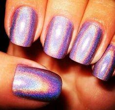 Lavender holographic nails... love!