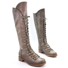 Croft17 Womens Knee High Lace-Up Military Boot Soft Faux Fur Lining