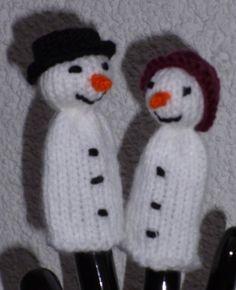 Schneemann und Schneefrau als Fingerpuppe mit Sprüchlein!