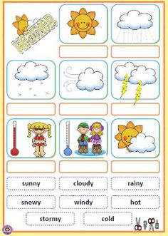 What's The Weather Like? Cut and Paste Activity Weather Worksheets, Preschool Worksheets, Preschool Learning, Preschool Activities, Teaching Kids, Listening Activities, English Lessons For Kids, English Worksheets For Kids, Kids English