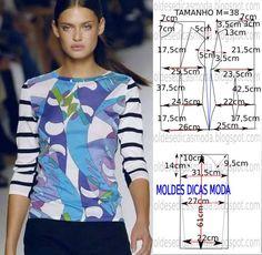 Analise de forma detalhada o desenho da base do molde de blusa. Esta blusa é simples e bela, veste de forma descontraída e elegante. As medidas corresponde