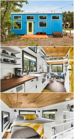 Try out tiny house living in these 18 beautiful holiday homes New Kitchen Designs, Design Your Kitchen, Kitchen Canopy, Small Space Living, Small Spaces, Kitchen Cabinet Colors, Tiny House Living, Tiny House Design, New Homes