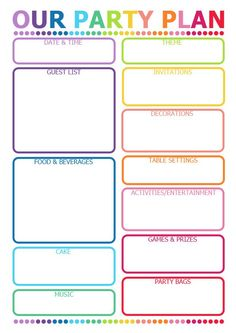 Printable Party Planner - great for kids parties