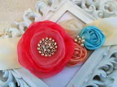 Mandy Bridal Sash Wedding Sash in Coral by CherryBlosomBoutique, $48.95