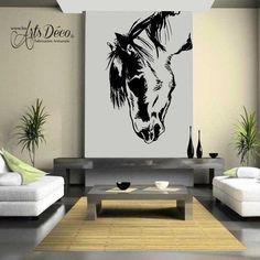 Sticker Cheval à la tête baissée : Cette décoration adhésive sur le thème du cheval plaira aux filles, aux adolescentes mais aussi à tous les passionnés de chevaux, de l'équitation et des compétitions hippiques.  Ce sticker animalier pourra être collé sur le support de votre choix (murs, meubles, objets, véhicule,...). Craquez pour le portrait de ce beau et élégant animal. #cheval #chevaux #stickers #décoration #déco Deco Stickers, Home Staging, Decoration, Interior, Support, Home Decor, Portrait, Greek Mythology, Home Ideas