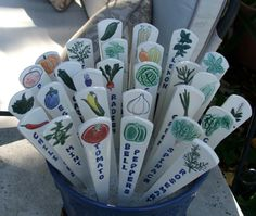 Ceramic Garden Markers, Vegetables and Herbs, Set of Three. $24.00, via Etsy.