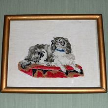 """Victorian Berlin Woolwork Embroidery of """"Dash,"""" a King Charles Spaniel: Removed Needlepoint Kits, King Charles Spaniel, Spaniels, Little Dogs, Cavalier, Needlework, Berlin, Dog Cat, Victorian"""
