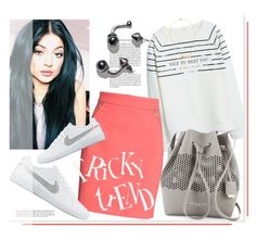 """""""Tricky Trend:Pencil Skirts & Sneakers"""" by mycherryblossom ❤ liked on Polyvore featuring MANGO, H&M, Kenneth Cole, NIKE and CAbi"""