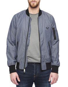 True Religion Mens Bomber Jacket Size XL in Skyline NWT $268 #TrueReligion #FlightBomber