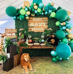 Baby Shower Safari Theme Baby Max's Baby Shower themed sa. Baby Shower Safari Theme Baby Max's Baby Shower themed safari Safari Theme Birthday, Jungle Theme Parties, Baby Boy 1st Birthday Party, Birthday Ideas, Boy Baby Shower Themes, Baby Boy Shower, Baby Shower Decorations, Safari Party Decorations, Jungle Baby Showers
