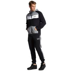 ea7b68f43 Emporio Armani EA7 Colourblock Tracksuit (£170) ❤ liked on Polyvore  featuring men's fashion, men's clothing and men's activewear