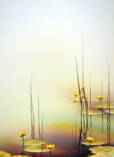 A Gentle Dawn by Linda Koenig ~ water lilies on a pond Watercolor Landscape, Watercolour Painting, Watercolor Flowers, Watercolors, Zen Art, Belle Photo, Painting Inspiration, Illustration Art, Artwork