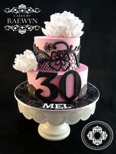 Beautiful Peony and Black Lace 30th Birthday Cake