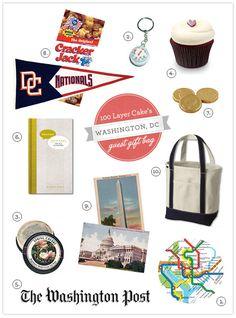 Cute guest bag: DC Metro map, metro fare card, Spring cherry tea, compass, Georgetown cupcake,
