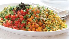 Chopped Mexican Salad with Roasted Peppers, Corn, Tomatoes & Avocado - Recipe - FineCooking