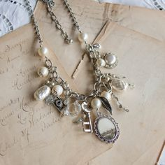 vintage repurposed jewelry Christine Stoll Jewelry: statement assemblage necklace with vintage landscape photo & repurposed vintage jewelry