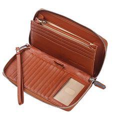 d01c3d54d9 ... Donna Portafoglio bloccante RFID Blocco Portafoglio in pelle vera e  propria Zip intorno alla frizione Grande borsa da viaggio di viaggio Marron  a Eur.